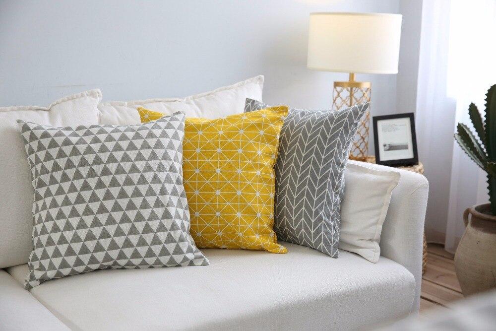 2018 Novo Xadrez 45x45 cm 60x60 cm Simples E Moderno Linho Algodão Almofada Decorativa Fronha Home Decor Sofa Throw Pillow 1 pc