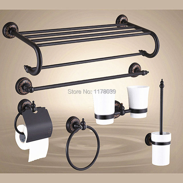 Retro Copper Towel Rack,bronze Bathroom Shelves,Antique Toilet Paper  Holders,Black Bathroom Hardware Accessories Sets,J16547