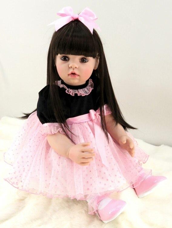 Здесь можно купить  60cm Silicone Reborn Girl Baby Doll Toys 24inch Vinyl Pink Princess Toddler Babies Dolls With Long Hair Birthday Kid Play House   Игрушки и Хобби