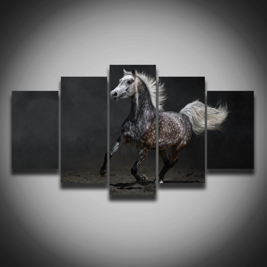 2016 New Arrival Sale Paintings High Quality Hd Running Horse Animal Painting On Canvas 5 Panels Home Wall Decoration Art Print