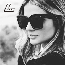 Ladies Fashion Sunglasses Women Flat Top Oversize Shield Shape Glasses Brand Design Vintage Sun Glasses Female UV400 Rivet 2016