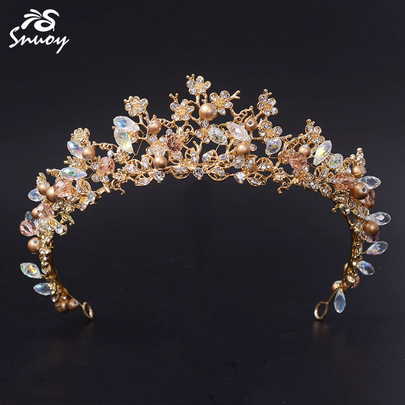 Snuoy New Golden Base Pearl Jewelry Wedding Tiaras & Crown Fashion Small Flower Crystal Bride Rhinestone Crown Princess Pageant