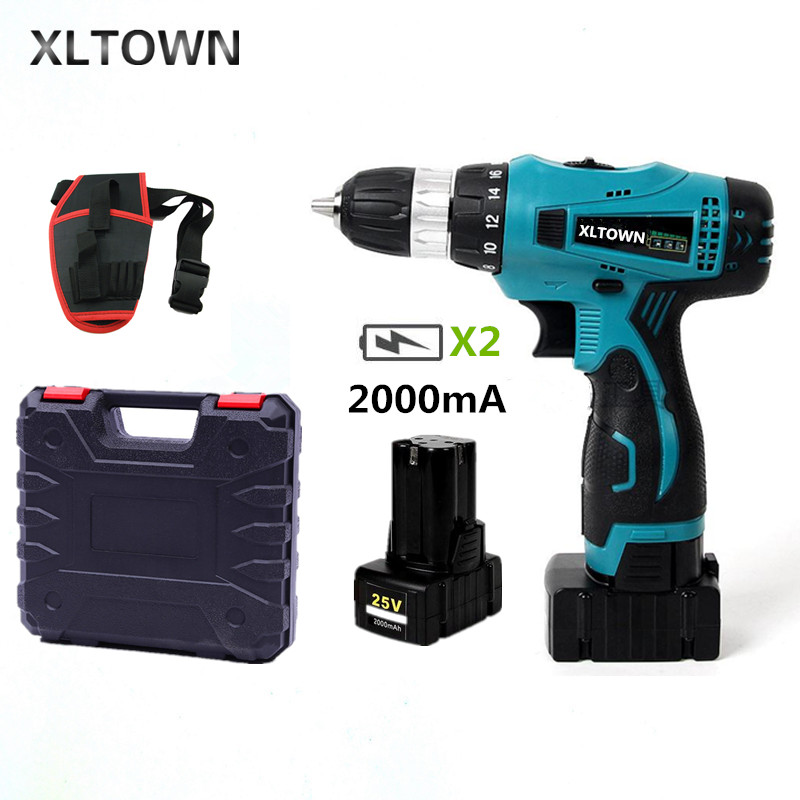 XLTOWN 25V 2000mAh electric screwdriver Cordless multi-function hand electric  drill home power tools with 2 battery a box ToolsXLTOWN 25V 2000mAh electric screwdriver Cordless multi-function hand electric  drill home power tools with 2 battery a box Tools