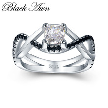 [BLACK AWN] 3.8g 925 Sterling Silver Jewelry Black Stone Wedding Rings for Women Square Zircon Engagement Ring Femme Bague C431