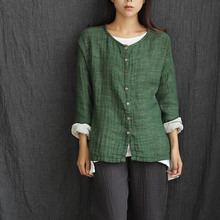 O-neck Long sleeve Loose Casual Women Blouse Shirt Solid Green Spring Autumn Shirts Blouses Cotton Linen Button Cute Tops 5033