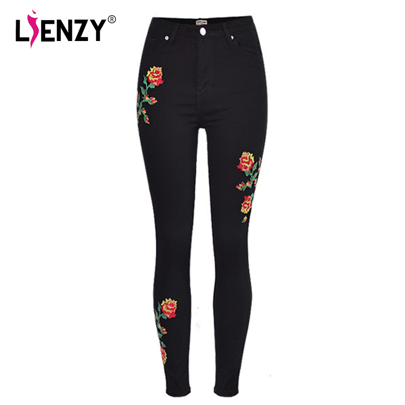 все цены на LIENZY Autumn Rose Cross Stitch Jeans High Waisted Mosaic Flower Embroidered Black Stretchy Denim Jeans Female Bottom онлайн