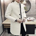 New Arrival Fashion Mens Wool Blend Single Breasted Trench Man Casuan Windbreakers Long Coat Slim Fit Stand Collar Jackets Size