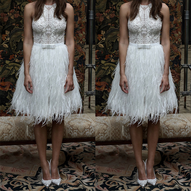 fa31f6cd36 2019 Trendy White Feather Short Prom Dresses Knee Length Formal Party Gown  Unique Lace Cocktail Dress