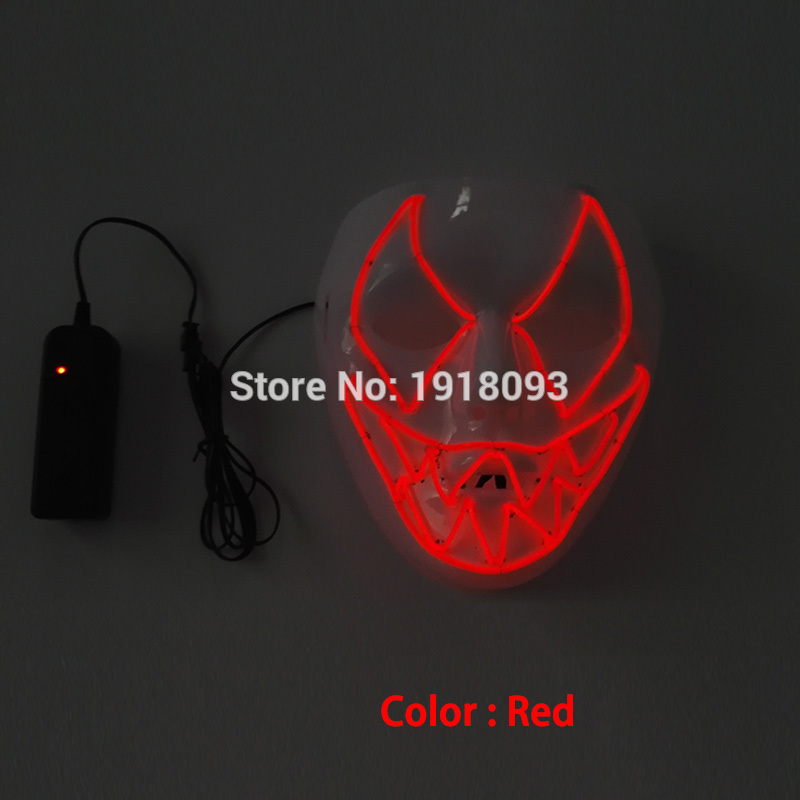 NEW Design DC-3V EL Wire Glowing Mask Carnival Terror Mask Glowing Festival LED Holiday Lighting Party Decoratiove Mask