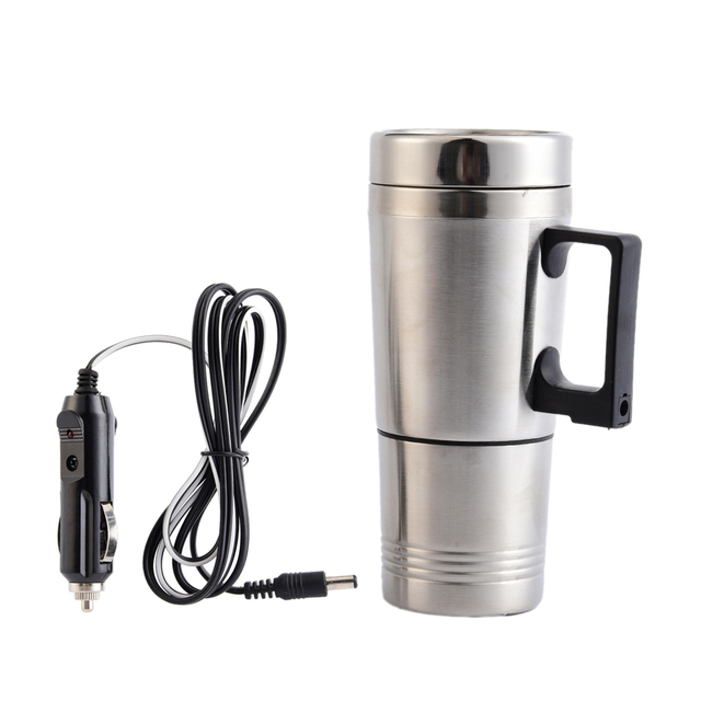 New 12V 300ml Auto Car Heating Metal Cup In Car Stainless Steel Coffee Tea Water Heater Cigarette Lighter Adapter Style
