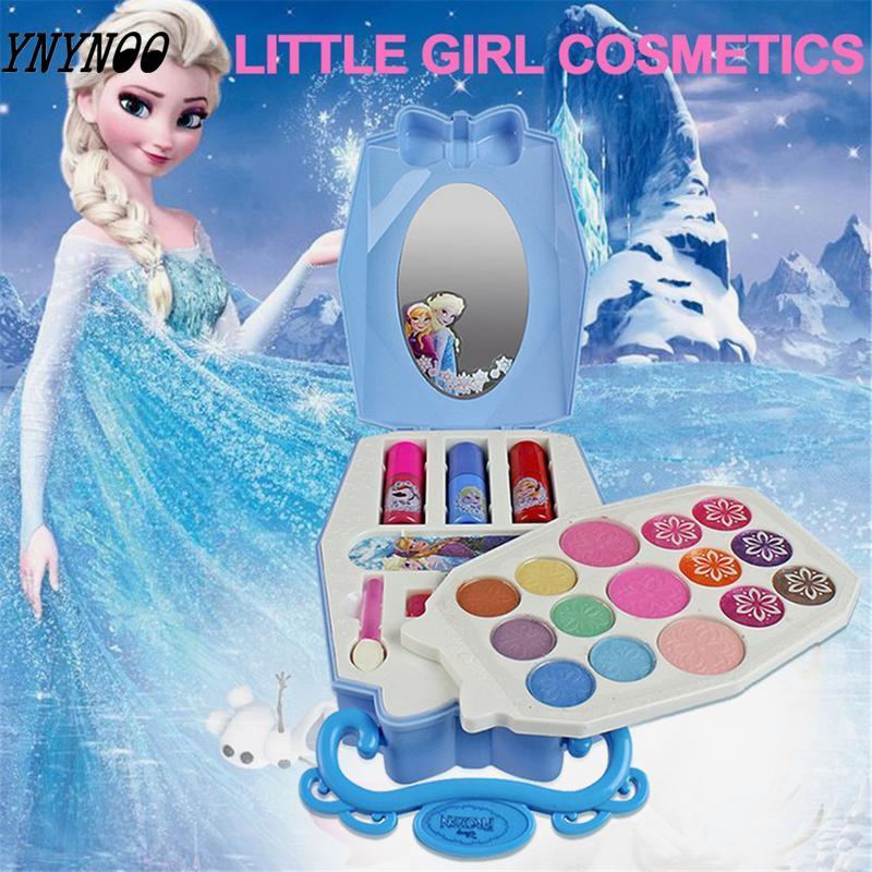22Pcs  Elsa Makeup Set Children Kids Girls Cosmetics Kit Eyeshadow Lip Gloss Blushes Pretend Play Gifts Girls Beauty Makeup Toy