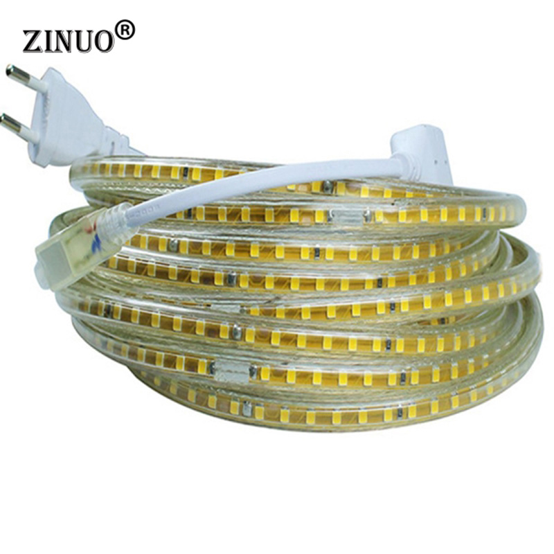 ZINUO 220V Led Strip 2835 120Leds / M IP65 Vanntett Med EU Power Adapter Fleksibel LED Tape Ribbon Utendørs 1M 2M 5M 10M 15M 20M