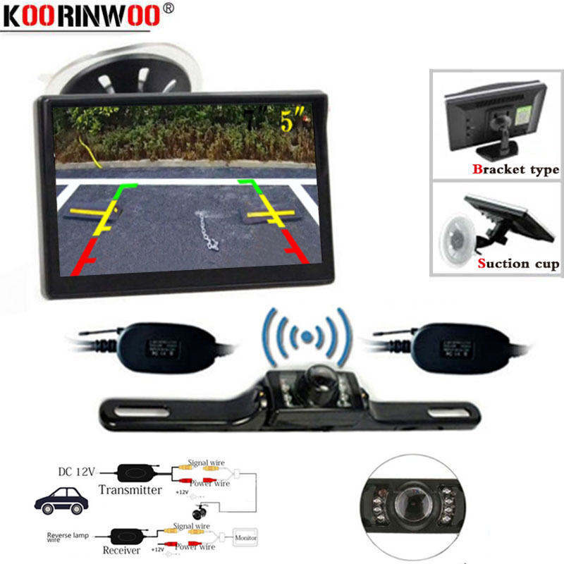 Koorinwoo Wireless New 5 Inch Car Monitor TFT LCD Screen HD Digital Color Car License Plate Rear View Camera Kit Support VCD/DVD