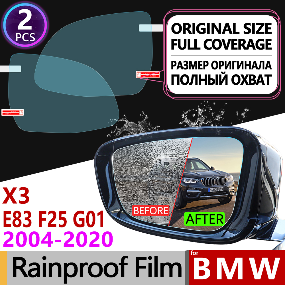 for <font><b>BMW</b></font> <font><b>X3</b></font> E83 F25 G01 2004~2020 Full Cover Anti Fog Film Rearview Mirror Rainproof Anti-Fog Car <font><b>Accessories</b></font> 2006 2011 2014 <font><b>2018</b></font> image
