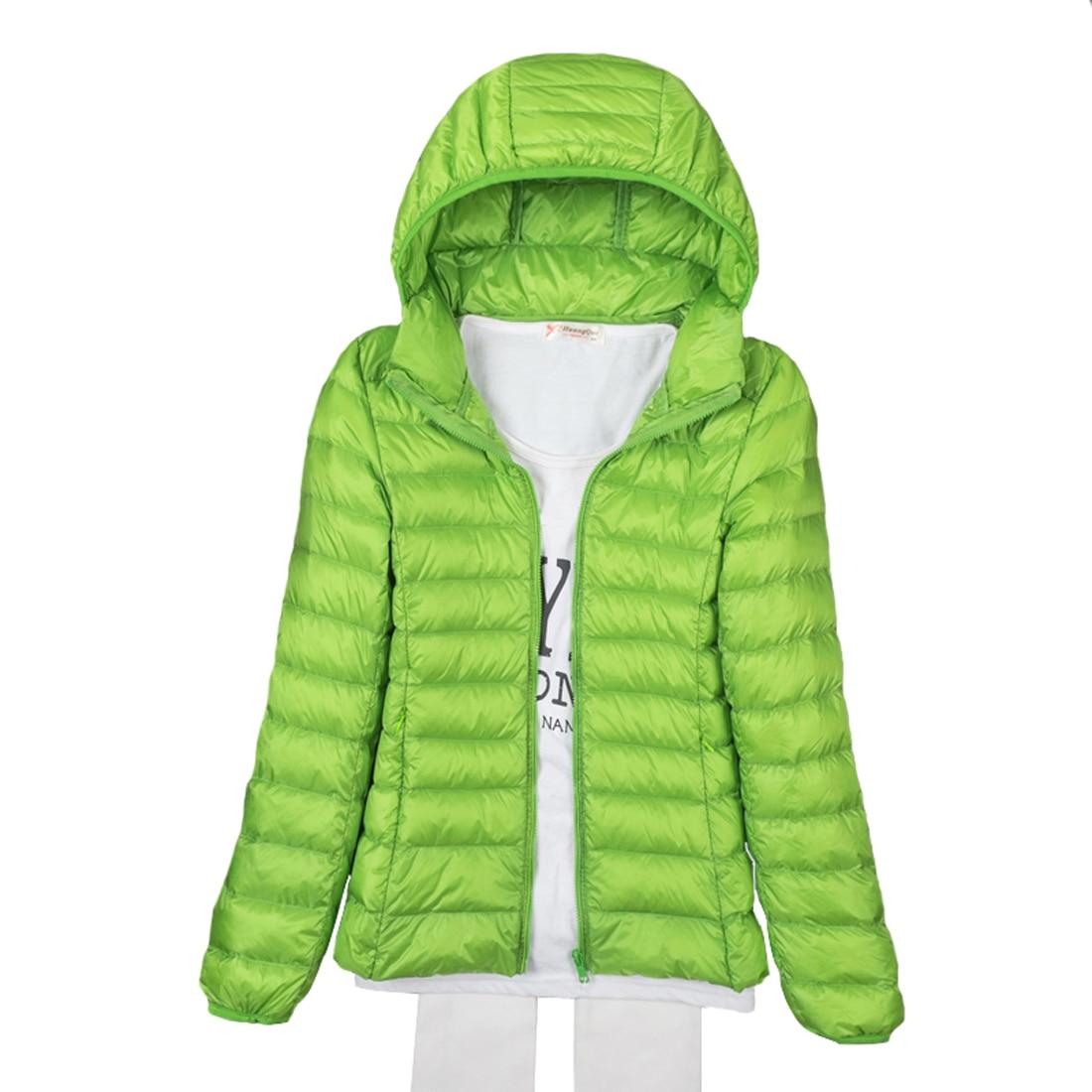 Tengo Thin Down Jacket Female New Long Sleeved Hooded Women Ultra Light Warm Coat
