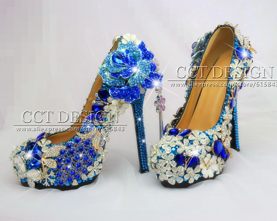Free shipping Handmade Customized Luxury Rose Flower and Peacock Royal Blue  Crystal rhinestone Wedding Shoes bridal high heels-in Women s Pumps from  Shoes ... 1a4ccfa4e9fd