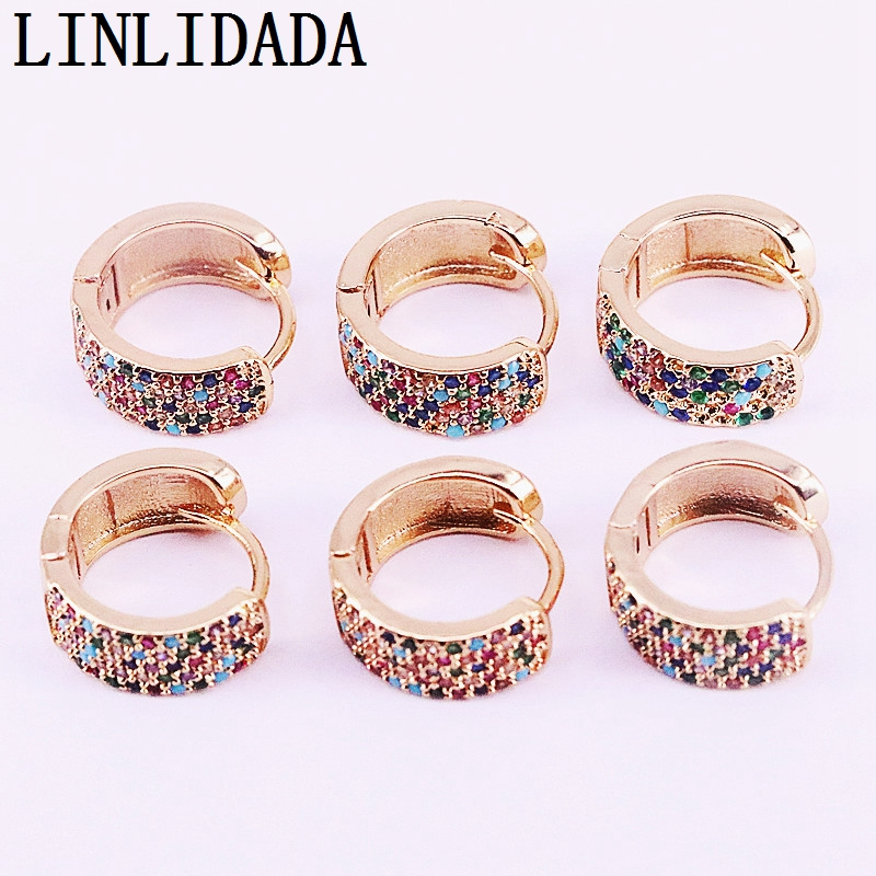 8Pairs Gold Color Round circle earrings rainbow cz Shiny design trendy jewelry earring
