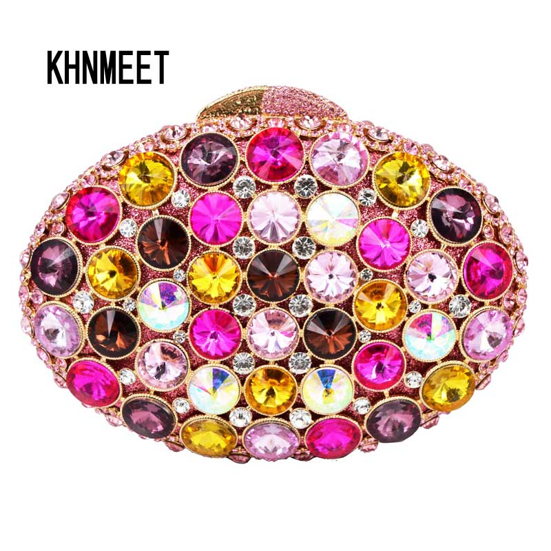 FPNK Evening Clutch Bag Oval Colroful Luxury Diamond Crystal Stones Evening Bag Wedding Purse Women Banquet Boutique Bag SC546 7 color oval gold ab silver pink luxury crystal evening bag party clutch purse women wedding handcraft banquet bag customized