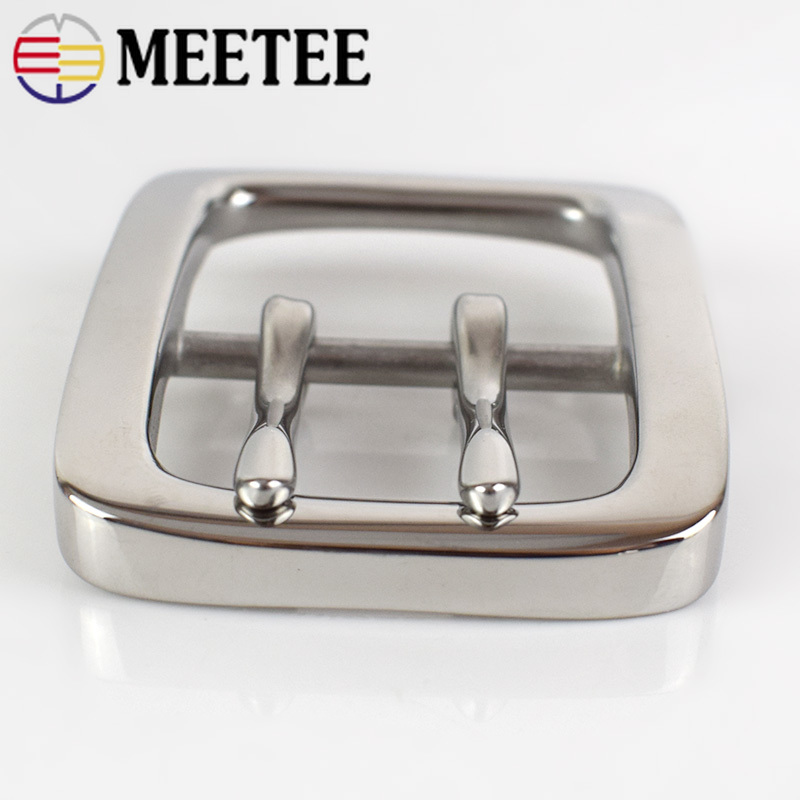 Deepeel 1pc 40mm Stainless Steel Single Double Pin Buckles Men's Belt Buckle Head DIY High Quality Hardware Leather Accessories