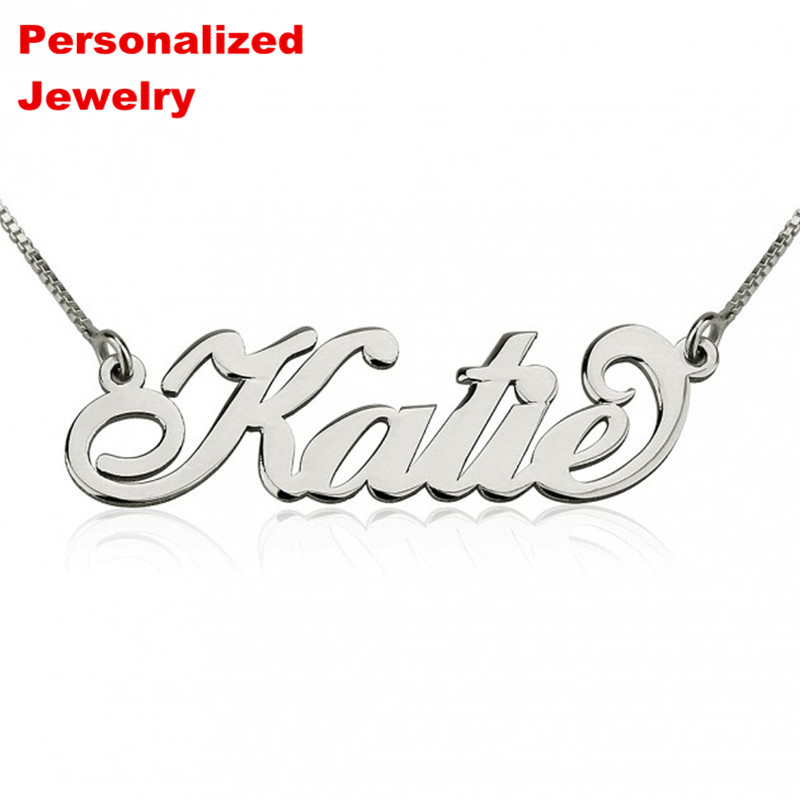 Senfai Any Custom personalized name necklace engraved custom Alison font Nameplate Name plate for women girl bar necklaces gift