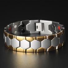 Baqi Titanium Steel Bracelet Male Gold Health Care Magnets Radiation-proof Wide Stainless Jewelry