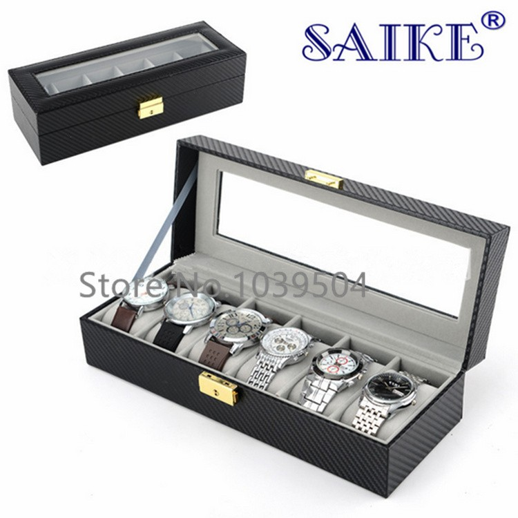 Free Shipping Carbon Fiber 6 Slots Watches Box With Key Black Leather Watch Display Brand Watch And Jewelry Storage Boxes W178 free shipping lateral lock 12 grids brand watches box black brand watch display box with key jewelry bracelet storage boxes w025