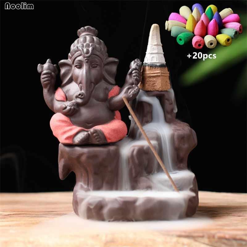 קרמיקה הודי גנש פיל זרימה חוזרת מבער קטורת אלוהים בודהה פסלי מחתת קטורת בית תפאורה + 20pcs קטורת קונוסים