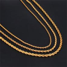 HIP Hop Width 3mm/4mm/5mm Rope Chain Gold 316L Stainless Steel Necklace Men Twisted Necklaces For Women Men Jewelry цена