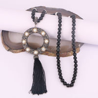 4Pcs Natural Black Stone Bead Long Tassel Necklace Pave Rhinestone Pearl And Silk Tassel Pendant Necklaces