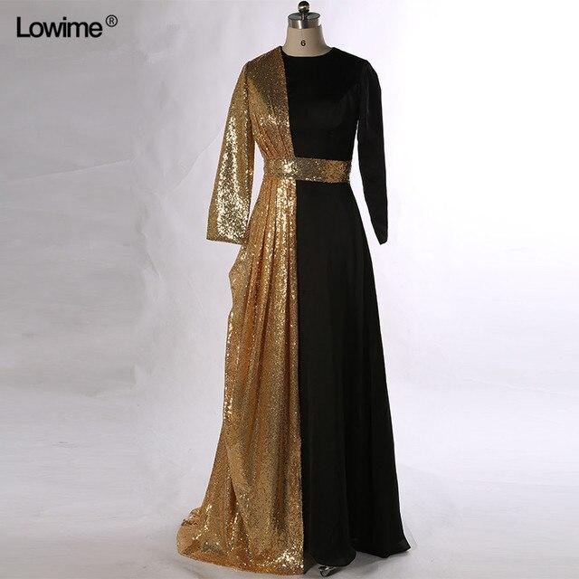 Schwarz Gold Pailletten Formales Kleid Muslimischen Abendkleider ...