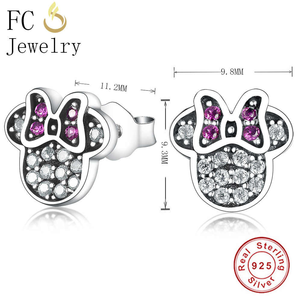 FC Jewelry 925 Sterling Silver Cute Cartoon Mickey Black Cubic Zirconia Crystal Stone Stud Earrings For Women Girl Brincos 2018