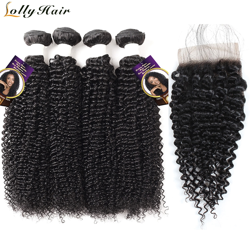 Lolly Indian Curly Hair Bundles With Closure Swiss Lace Closure With Bundles 5Pcs/Lot Natural Color Remy Human Hair Extensions