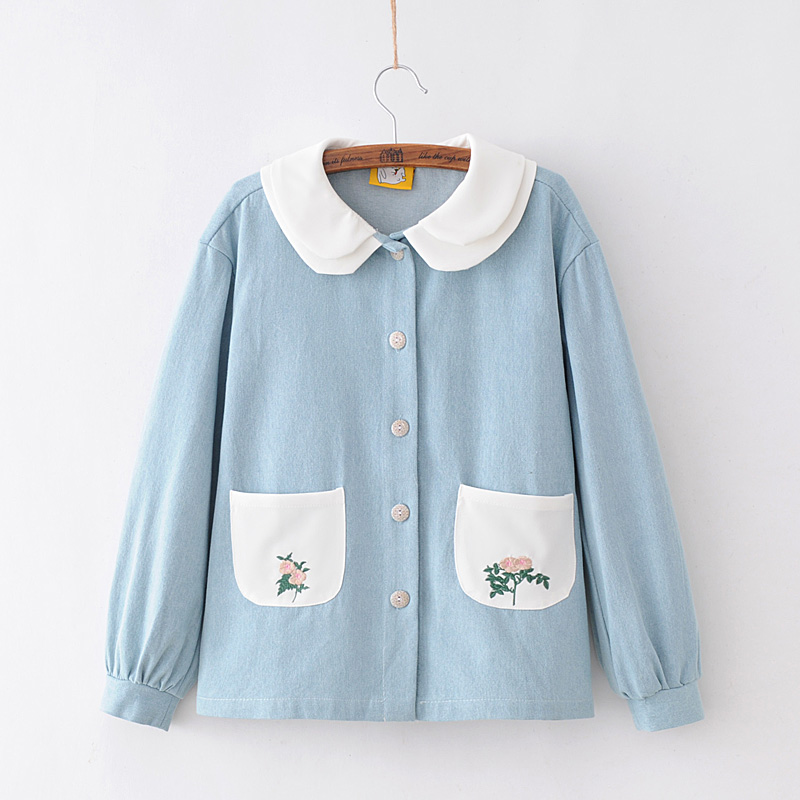 MERRY PRETTY Autumn Floral Embroidery Jeans Jacket Women Single Breasted Long Sleeve Preppy Style Cute Sweet Denim Jacket Girls