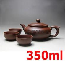 Yixing Keramik Teekanne Handgefertigten Porzellan Teekanne Tasse Gesetzt Lila Ton teekannen 400 ml Zisha Kung Fu Zeremonie Geschenk BONUS 3 TASSEN 50 ml