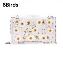 BBirds 2019 New Fashion Women Transparent Acrylic Bag Ladies Small Flower Shoulder Bag Slung Chain Small Square bag(China)