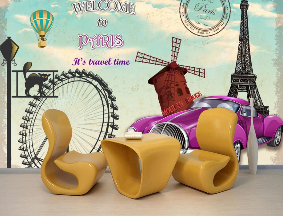Custom papel de parede,Paris European style vintage car wallpapers,living room sofa tv wall bedroom 3d wall murals wallpaper