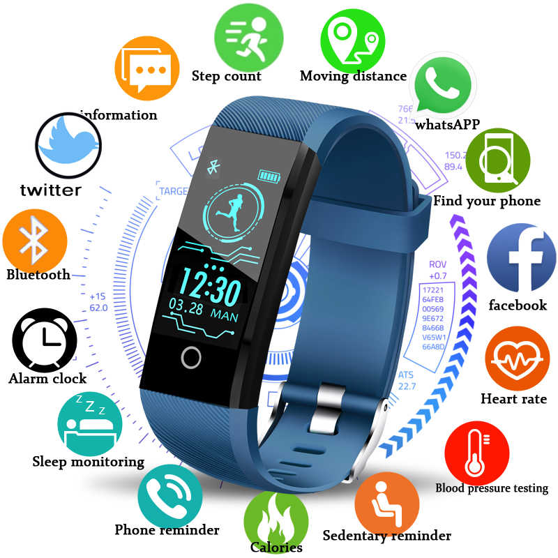 LIGE 2019 新規スマート健康腕時計メンズ · トラッカー心拍数血圧モニター歩数計防水スマートブレスレット