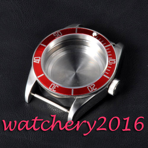 где купить 41mm Corgeut sapphire glass red bezel High quality hardened stainless steel case fit eta 2824 2836 movement Watch case по лучшей цене