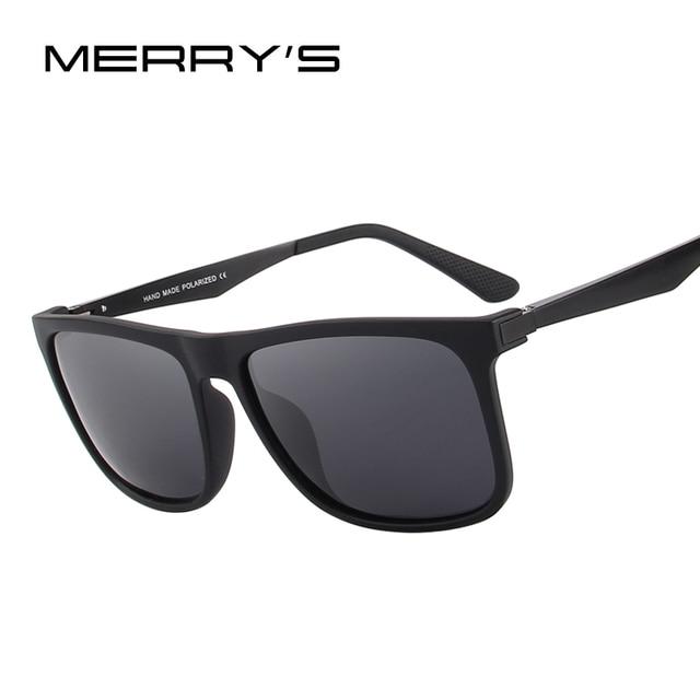 MERRY S DESIGN Quadrado Dos Homens Polarizados óculos de Sol Moda Masculina  Óculos Pernas de Alumínio de 953b6360da