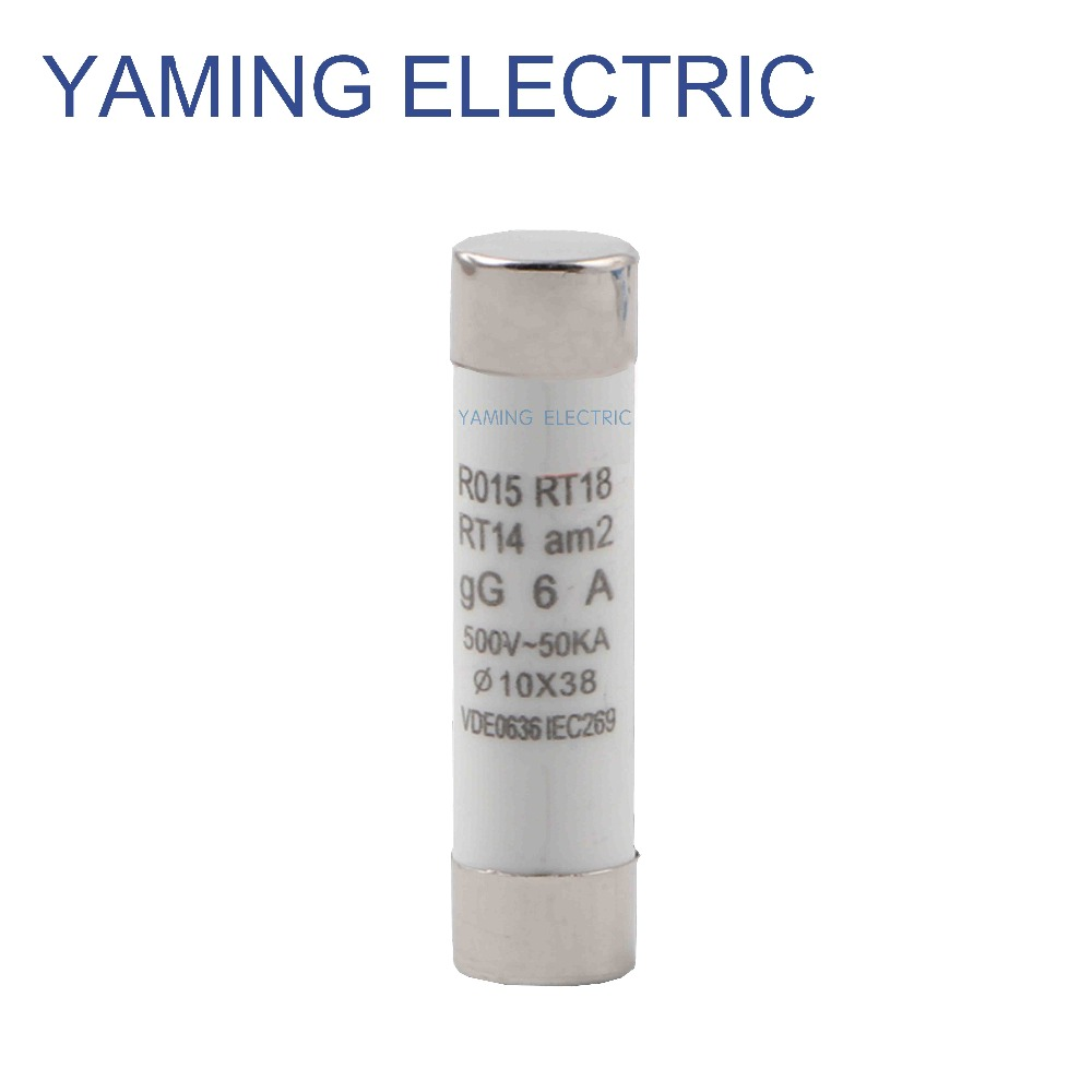 10pcs/lot Fuse 1A/2A/3A/5A/6A/10A/16A/20A/32A AC500V 50KA fusible 10x38mm gG Ceramic Fuse breaker Factory directly