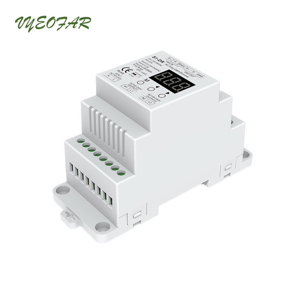 New S1 DR Led AC Triac DMX512 Dimmer;Input voltage:100 240VAC; voltage Output: 2 x 1.2A DIN Rail 2 Channel DMX Triac Dimming