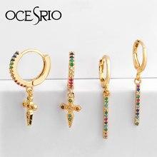 Ocesrio brinco ers-q30, mini pontas estilo punk, para mulheres, arco-íris, cz, delicado, dourado, para moças, tira de estrela, cruz, cone, brinco de gota