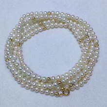Sinya 3-4mm natural pearls strand necklace bracelet with 18k gold beads inside length 45cm or 90cm optional for women girls Mum chic faux pearls hollow out strand bracelet for women