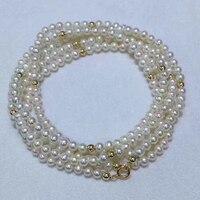 Sinya 3 4mm natural pearls strand necklace bracelet with 18k gold beads inside length 45cm or 90cm optional for women girls Mum