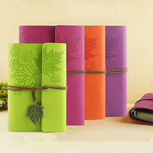 Vintage travel journal diary book A7 A6 leather notebook string maple Leaf creative note book blank szkicownik papier kraft