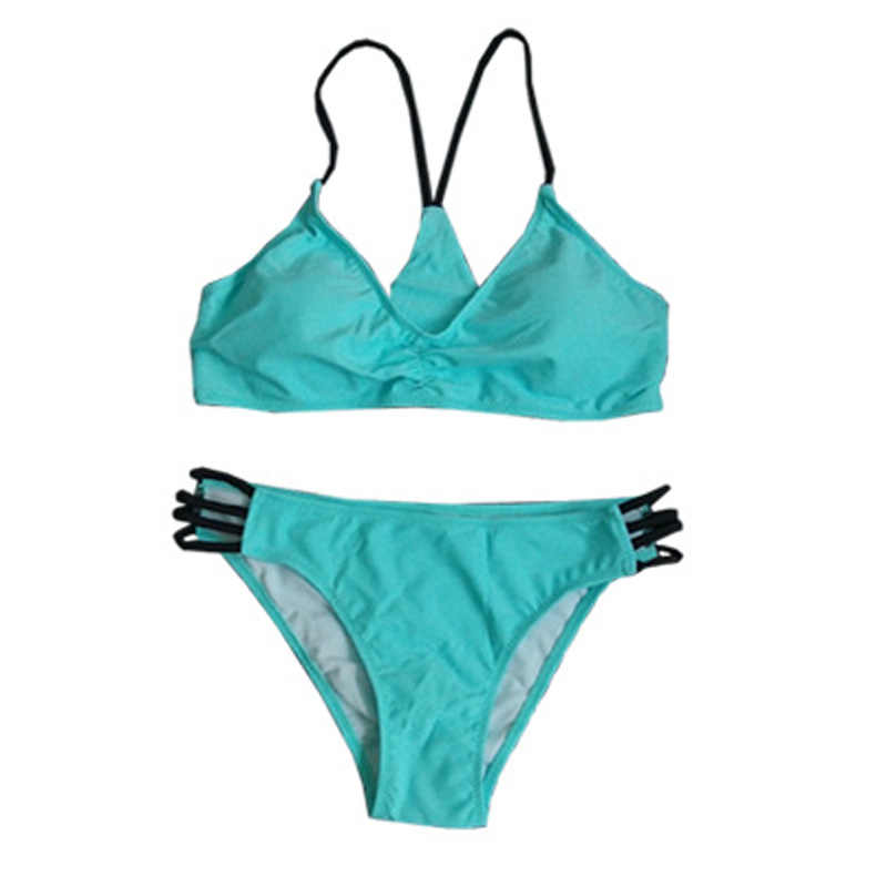 Новые спортивные бикини Однотонный женский купальник пляжный купальный костюм бандажный купальник с вырезами Бразильский бикини новый спортивный купальник ming