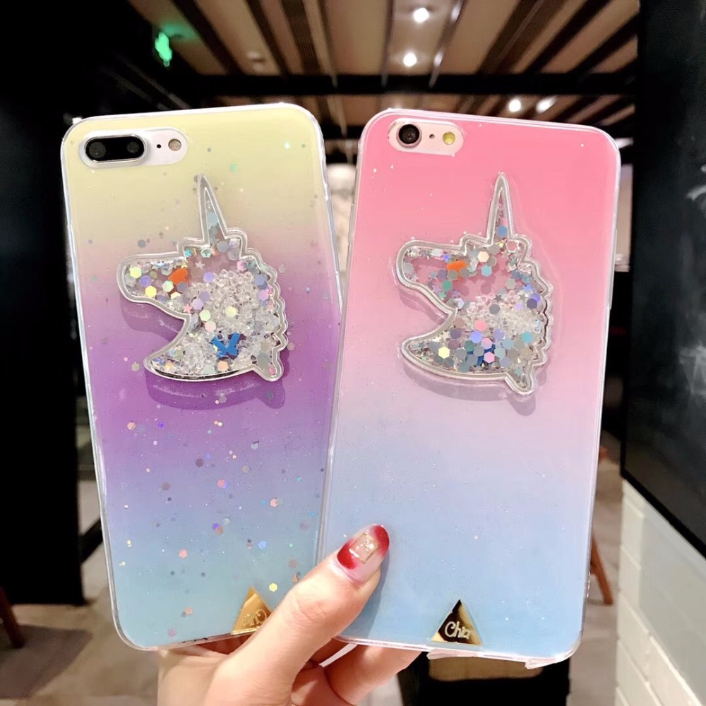 KJYKJ Bling Quicksand Unicorn Case For iPhone6 6s Cases colorful Plastic Cover For iPhone X 8 7 Plus Hard Protective Phone Coque