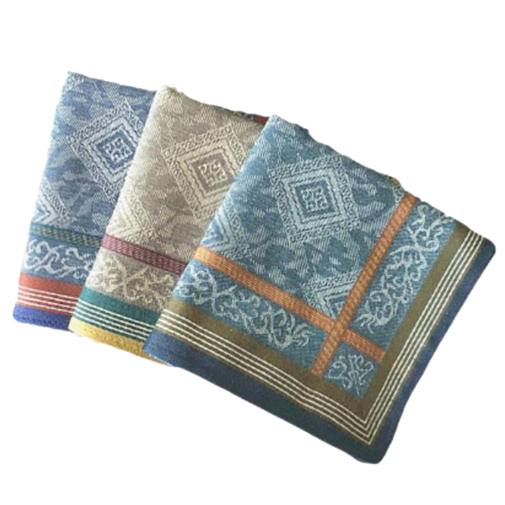 3pcs Fashion Handkerchief Mens Assorted Woven 100% Cotton Hankies Printed Plaid Design Square Handkerchiefs For Gentlemen Father