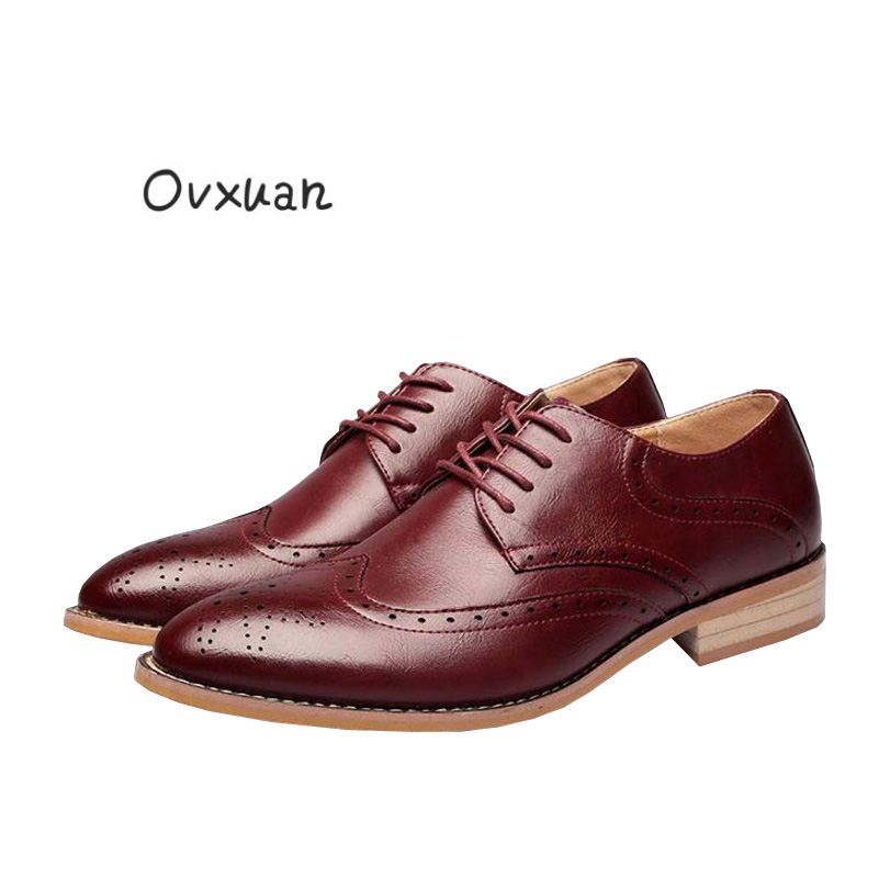цены Ovxuan Carved Genuine Leather Shoes Italy Casual Brogue Business Formal Dress Bullock Men Shoe Office Wedding Oxfords Mens Shoes
