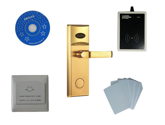 Система блокировки отель комплект, T57 карты hotel lock, включать отель замок, USB энкодера Читатель, энергосберегающий коммутатор, T57 карты, sn: 8002 ко